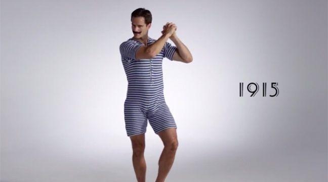 video 100 ans de maillots de bain pour hommes en trois. Black Bedroom Furniture Sets. Home Design Ideas