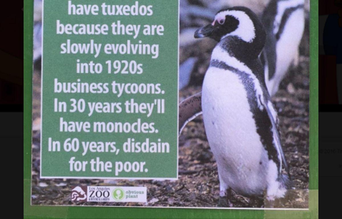 L'une des pancartes placardées par Jeff Wysaski dans le zoo de Los Angeles. – ObviousPlant