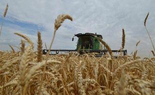 Une moissonneuse en action dans un champ de blé de la région de Stavropol, en Russie, le 9 juillet 2014