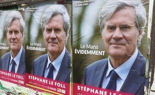 Des affiches électorales pour la candidature de Stéphane Le Foll aux municipales 2020.