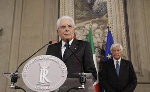 Le président italien Sergio Mattarella, lors d'une conférence de presse à Rome, le 22 août.