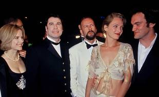 Uma Thurman et Quentin Tarantino en 1994 à Cannes pour la Palme d'Or de Pulp Fiction