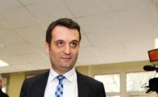Le vice-président du Front national Florian Philippot vote au 2e tour des municipales, le 23 mars 2014 à Forbach