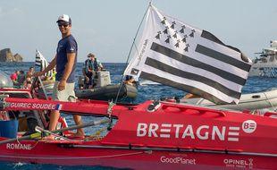 Après 74 jours en mer, Guirec Soudée est arrivé vendredi en fin d'après-midi à Saint-Barthélémy.
