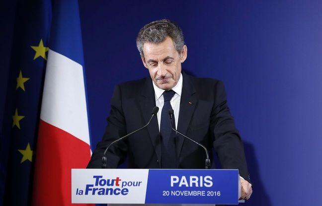Nicolas Sarkozy au soir du premier tour de la primaire à droite, le 20 novembre 2016 à Paris