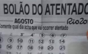 Un bingo-attentat circule sur les réseaux sociaux brésiliens.