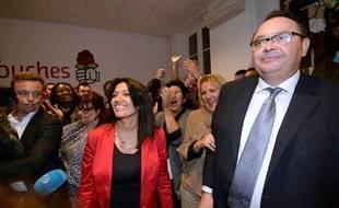 Samia Ghali et Patrick Menucci, arrivés respectivement première et deuxième de la primaire socialiste à Marseille, le 13 octobre 2013.