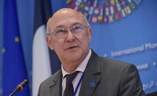 Le ministre des Finances, Michel Sapin, le 10 avril 2014 au siège du FMI à Washington