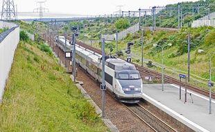 Un TGV file à vive allure.