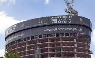 Des logements en construction à Stratford, en Angleterre.