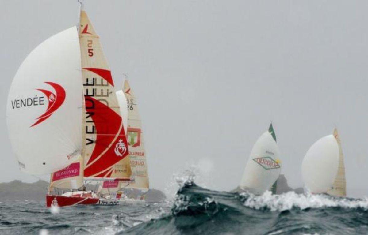 Le Français Yann Eliès était en tête lundi après-midi de la flotte des concurrents de la Solitaire du Figaro, partis la veille de Paimpol (Côtes d'Armor) en direction de Gijon (nord de l'Espagne), terme de la première des trois étapes de la course. – Fred Tanneau afp.com