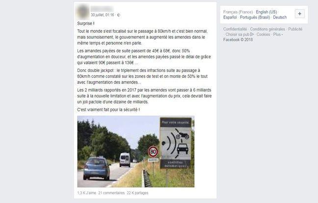 Le post erroné de cet internaute a été partagé 22.000 fois sur Facebook.
