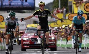 Simon Yates a remporté la 12e étape du Tour de France, à Bagnères-de-Bigorre, le 18 juillet 2018.