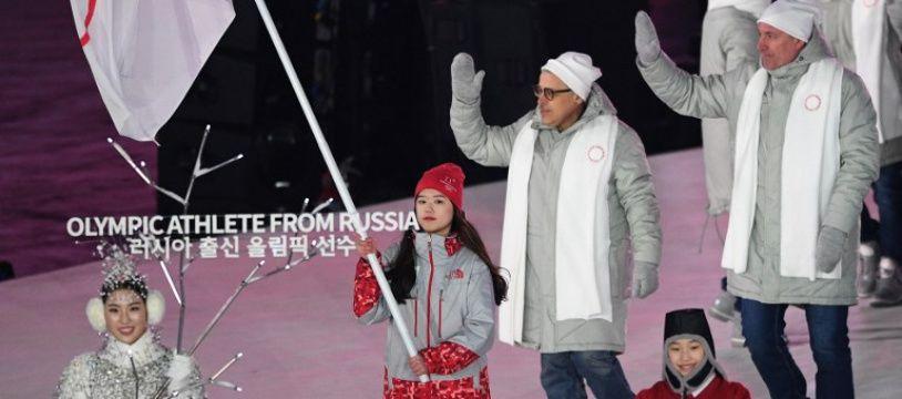 La Russie sous bannière olympique lors de la cérémonie d'ouverture des JO de Pyeongchang, le 18 février 2018.