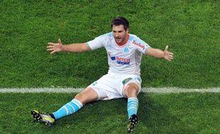 L'attaquant de l'OM, André-Pierre Gignac, après son but lors d'OM-PSG, le 8 octobre 2012 au stade Vélodrome.