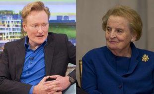 Montage montrant l'humoriste américain Conan O'Brien (G) et l'ancienne secrétaire d'Etat américaine Madeleine Albright (D).