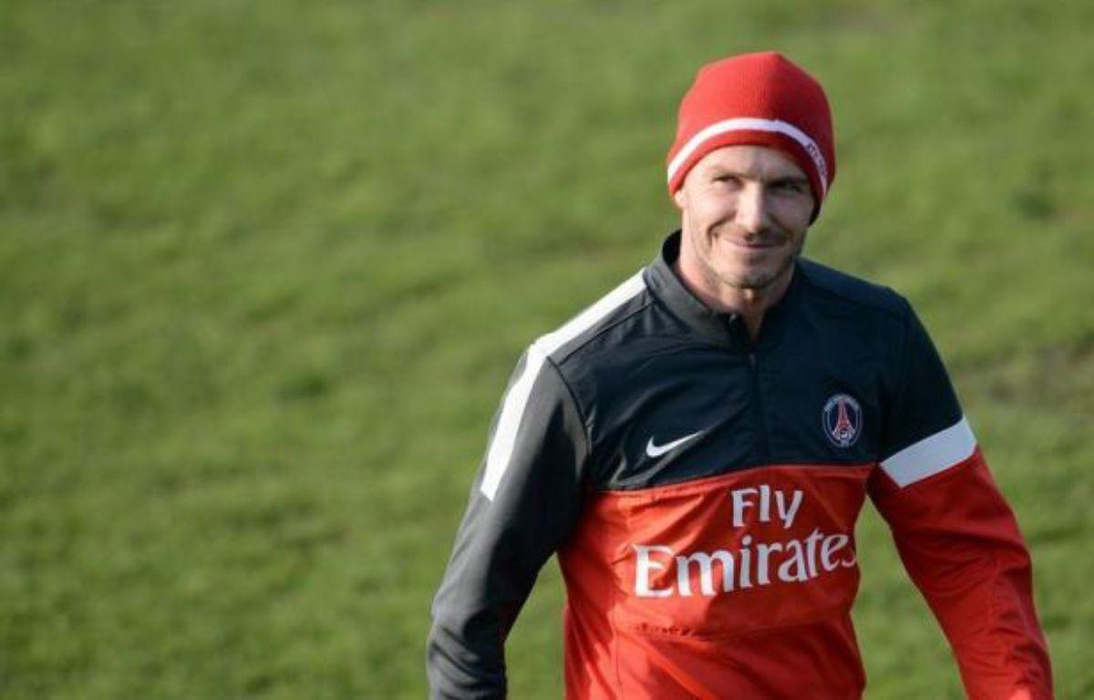 """L'entraîneur du Paris SG Carlo Ancelotti a indiqué samedi que David Beckham était """"capable de jouer un match entier"""", sans toutefois dévoiler ses intentions pour le clasico de dimanche contre Marseille, lors de la 26e journée de Ligue 1 au Parc des Princes. – Franck Fife AFP"""