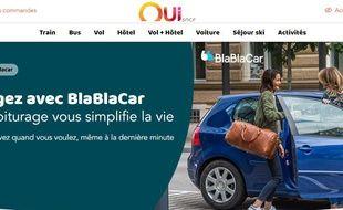 Le site Oui.sncf intègre désormais les offres de covoiturage de BlaBlaCar.