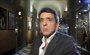 Regis Jauffret, ecrivain francais, pose dans le hall de l'hotel Lutetia. Paris, FRANCE -06/01/2012/