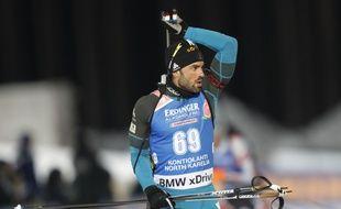 Simon Fourcade lors du sprint de Kontiolahti, en Finlande, le 8 mars 2018.