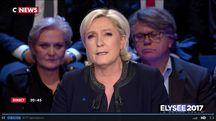 Marine Le Pen lors du débat présidentiel du 4 avril 2017 sur BFMTV et CNews.
