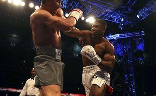 Anthony Joshua (à dr.) contre Wladimir Klitschko, à Londres le 29 avril 2017.