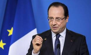 François Hollande lors de son discours au sommet de l'Union européenne à Bruxelles, le 15 mars 2013.