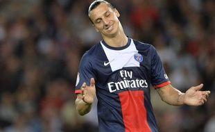 L'attaquant du PSGZlatan Ibrahimovic, le 18 août 2013, contre l'ACAjaccio, au Parc des Princes.