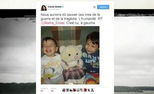 Capture d'écran du compte Twitter de Cécile Duflot réagissant après la mort d'un enfant syrien.