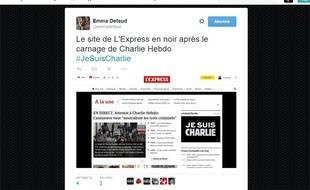Un tweet de la rédactrice en chef Web de «L'Express» après la fusillade au siège de «Charlie Hebdo».