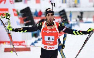 Martin Fourcade, le dernier relayeur français, le 19 janvier 2014, à Antholz.