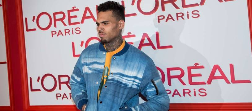 Le chanteur Chris Brown à Paris.