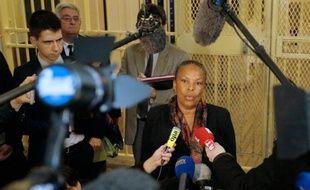La ministre de la Justice Christiane Taubira lors d'une visite le 13 janvier 2015 à la prison de Fresnes au sud de Paris