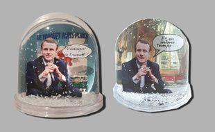 Les boules à neige à l'effigie d'Emmanuel Macron.