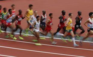 Une série du 5000m des jeux olympiques à la quelle participait le Français Hassan Hirt, le 8 août 2012, à Londres.
