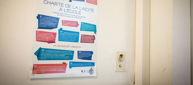 Une charte de la laïcité dans une école (illustration).
