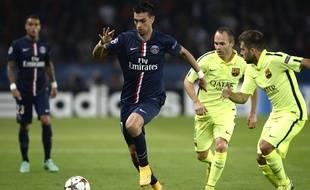 Le joueur du PSG, Javier Pastore lors du match de Ligue des champions face au FC Barcelone, le 30 septembre 2014.
