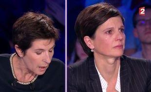 Christine Angot et Sandrine Rousseau sur le plateau d'«On est pas couché», diffusé ce 30 septembre 2017.