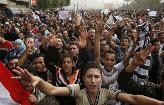 Manifestations au Caire (Egypte) contre le gouvernement le 29 janvier 2011.