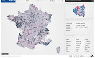 Carte des résultats du premier tour des municipales dans toute la France