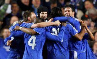 Les joueurs de Chelsea célébrant un but face à Liverpool en Ligue des champions, le 30 avril 2008.