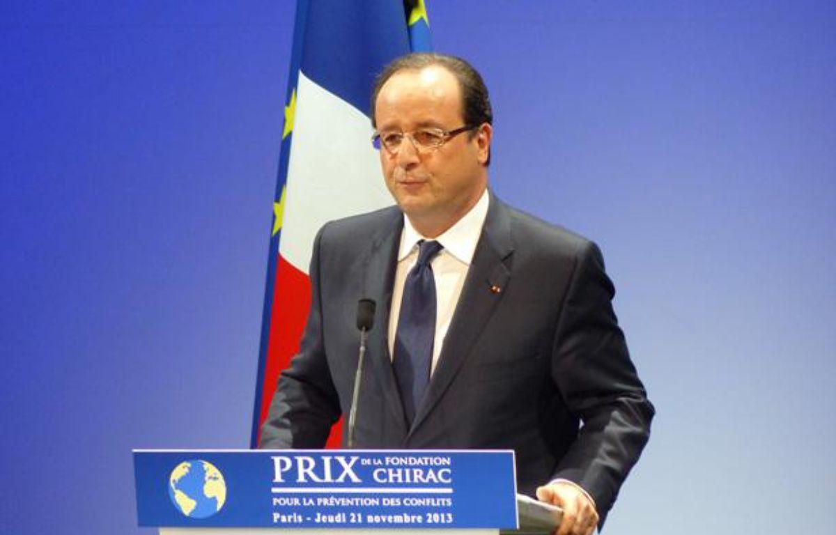 François Hollande, le 21 novembre 2013, lors de la remise des prix de la Fondation Chirac, au musée du quai Branly, à Paris. – Enora OLLIVIER / 20 Minutes