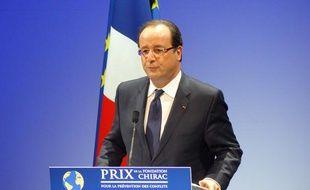 François Hollande, le 21 novembre 2013, lors de la remise des prix de la Fondation Chirac, au musée du quai Branly, à Paris.