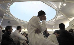 Strasbourg le 30 08 2011. Illustration. Prière de la fin du ramadan dans la toute nouvelle grande mosquée de Strasbourg.