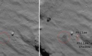 Détail du noyau de la comète Tchourioumov-Guérassimenko, avant et après l'atterrissage de Philae. Le grand cercle rouge indique le nuage de poussière soulevé par le robot, les deux petits Philae et son ombre.
