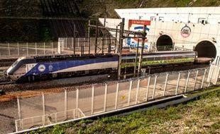 Cette photo prise le 20 octobre 2015 à Coquelles montre un train d'Eurotunnel entrant dans un tunnel de fret.