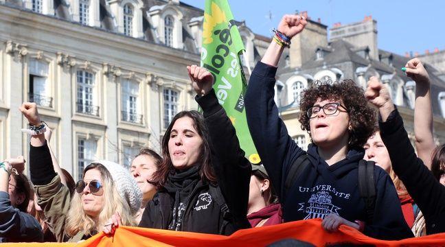 De nombreux jeunes ont défilé dans les rues de Rennes pour protester contre la loi Travail. – C. Allain / APEI / 20 Minutes