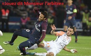 Neymar taclé par Skhiri lors de PSG-Montpellier, le 27 janvier 2018.