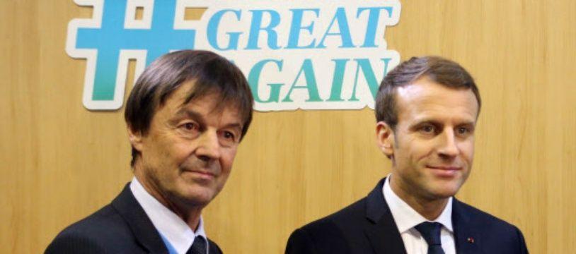 Emmanuel Macron et Nicolas Hulot, ministre de l'Ecologie.