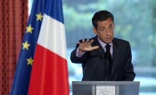 Nicolas Sarkozy lors de son discours à la 17e conférence des Ambassadeurs à l'Elysée, le 27 août 2009